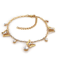 Bracelets - clear crystal 18 k gold butterfly swarovski elements crystal ankle adjustable bracelet anklet lobster clasp Image.