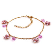Bracelets - flower rose pink crystal ankle adjustable anklet lobster clasp bracelet Image.