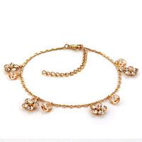 Bracelets - golden flower crystal ankle adjustable bracelet anklet lobster clasp Image.