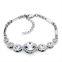 Bracelets - clear white crystal ankle adjustable lobster clasp bracelet women Image.