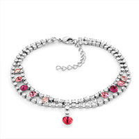 Bracelets - rose pink swarovski elements crystal ankle adjustable bracelet anklet lobster clasp Image.