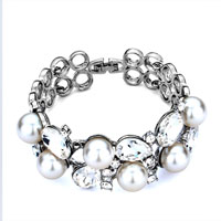 Bracelets - fashion pearl clear silver crystal beads bracelet for women Image.