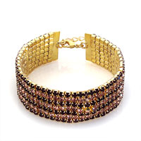 Bracelets - women' s golden black wave crystal adjustable lobster clasp bracelet Image.
