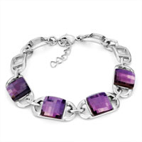 Bracelets - amethyst purple crystal adjustable lobster clasp bracelet women Image.