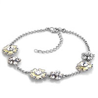 Bracelets - clear crystal flower ankle adjustable bracelet anklet lobster clasp Image.