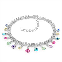 Bracelets - colorful multi crystal anklet 9  to 10  inch ankle bracelet made with elements Image.