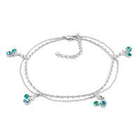 New Year Deals - aquamarine blue dangle cherry swarovski elements crystal ankle adjustable bracelet anklet lobster clasp Image.