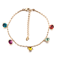 New Year Deals - colorful crystal ankle bracelet anklet crystal lobster clasp Image.