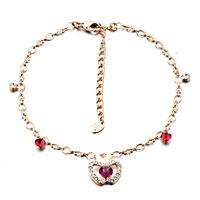 Bracelets - red crystal apple golden ankle bracelet anklet crystal lobster clasp Image.