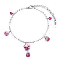 Gifts Center - silver chain dangle october birthstone light rose flower drop swarovski crystal ankle bracelet anklet lobster clasp Image.