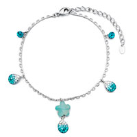Bracelets - chain flower drop blue crystal ankle bracelet anklet lobster clasp Image.