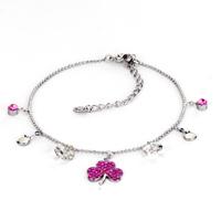 Bracelets - fashion rose pink crystal lucky clover crystal anklet lobster clasp bracelet Image.