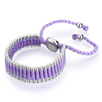 Bracelets - purple cotton woven clubs wrap bracelet metal button adjustable chip stone Image.
