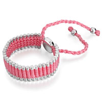 Bracelets - pink cotton woven clubs wrap bracelet metal button adjustable chip stone Image.