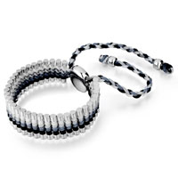 Man's Jewelry - black gray white cotton woven clubs wrap bracelet metal button adjustable chip stone Image.