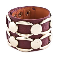 Bracelets - stainless steel studded amethyst red leather cuff bracelet Image.