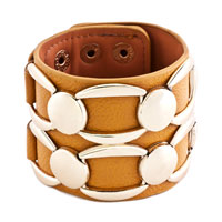 Man's Jewelry - stainless steel studded ginger leather cuff bracelet Image.