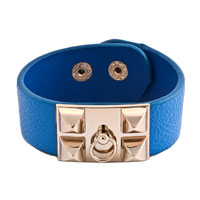 Man's Jewelry - stainless steel studded sapphire blue leather cuff bracelet Image.