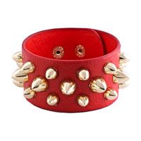Man's Jewelry - stainless steel studded light red leather cuff bracelet Image.