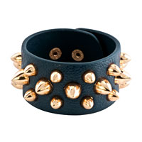Bracelets - stainless steel studded sapphire blue leather cuff bracelet Image.