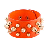 Man's Jewelry - stainless steel studded orange leather cuff bracelet Image.