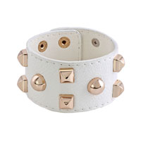 Man's Jewelry - stainless steel studded clear white leather cuff bracelet Image.