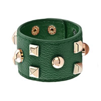 Man's Jewelry - stainless steel studded emerald green leather cuff bracelet Image.