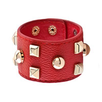 Man's Jewelry - studded light red leather cuff bracelet Image.