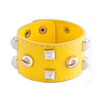 Man's Jewelry - stainless steel studded bright yellow leather cuff bracelet Image.
