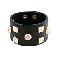 Man's Jewelry - stainless steel studded black leather cuff bracelet Image.