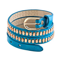 Man's Jewelry - stainless steel studded aquamarine blue leather bracelet Image.