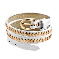 Man's Jewelry - stainless steel studded clear white leather bracelet Image.