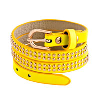 New Year Deals - studded rose red leather bracelet Image.