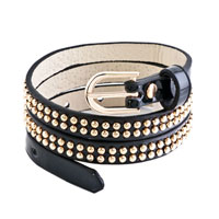 New Year Deals - studded black leather bracelet Image.
