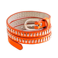 Bracelets - gold metal on genuine orange leather adjustable twining bracelet Image.