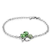 Bracelets - chain four leaf clover august birthstone peridot crystal bracelets Image.