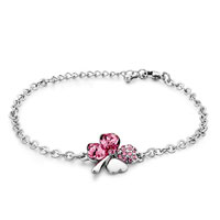 Bracelets - chain four leaf clover october birthstone rose crystal bracelets Image.