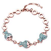 Bracelets - rose gold chain triple fish march birthstone aquamarine blue swarovski crystal lobster clasp extend bracelets Image.