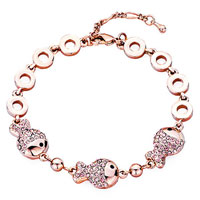 Gifts Center - rose gold chain triple fish october birthstone light pink swarovski crystal lobster clasp extend bracelets Image.