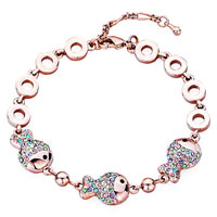 Keywords - rose gold chain triple fish colorful crystal lobster clasp bracelets Image.