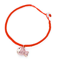 Keywords - red cotton chain dangle rose gold fish october birthstone light swarovski pink crystal charms lobster clasp extend bracelets Image.