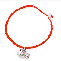 Keywords - red cotton chain dangle rose gold fish colorful swarovski crystal charms lobster clasp extend bracelets Image.
