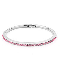 Gifts Center - silver chain embedded october birthstone light rose pink austrian crystal bracelets for women Image.