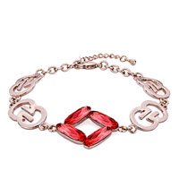 Keywords - rose gold chain padparadscha red austrian swarovski crystal formed square lobster clasp extend bracelets Image.