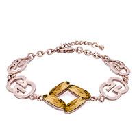 Keywords - rose gold chain yellow november birthstone topaz austrian swarovski crystal formed square lobster clasp extend bracelets Image.