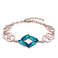 Keywords - rose gold chain december birthstone blue cyan zircon austrian swarovski crystal formed square lobster clasp extend bracelets Image.