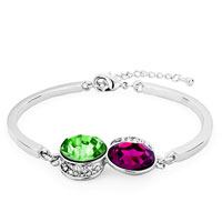 Keywords - chain fuchsia peridot green& magenta austrian swarovski crystal oval moon clear lobster clasp extend bracelets Image.