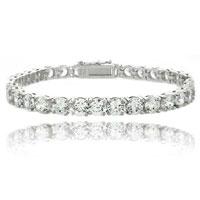Bracelets - clear white cubic zirconia tennis bracelet accent infinity bracelet Image.