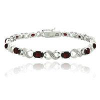 Bracelets - red diamond cubic zirconia tennis accent infinity bracelet Image.