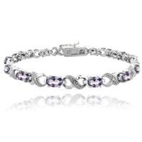 Bracelets - purple diamond cubic zirconia tennis accent infinity bracelet Image.